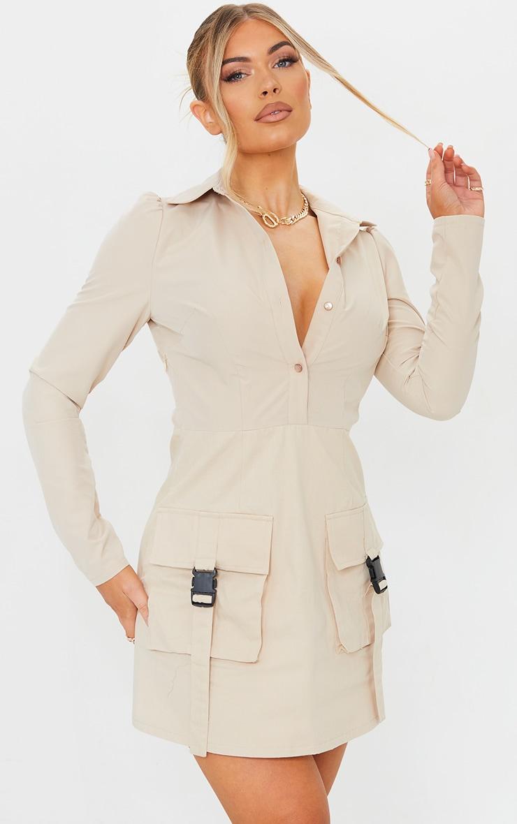 Stone Utility Skirt Long Sleeve Shirt Dress