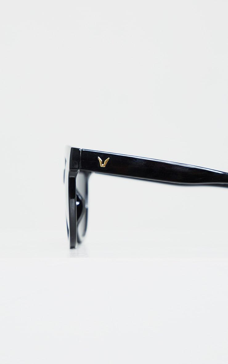 Black Glossy Round Sunglasses 3