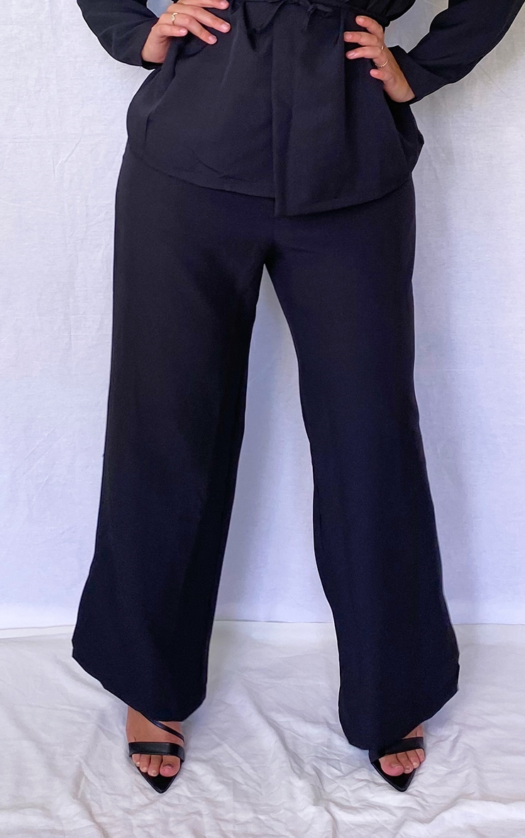 Plus Black Woven Wide Leg Split Hem Pants 2