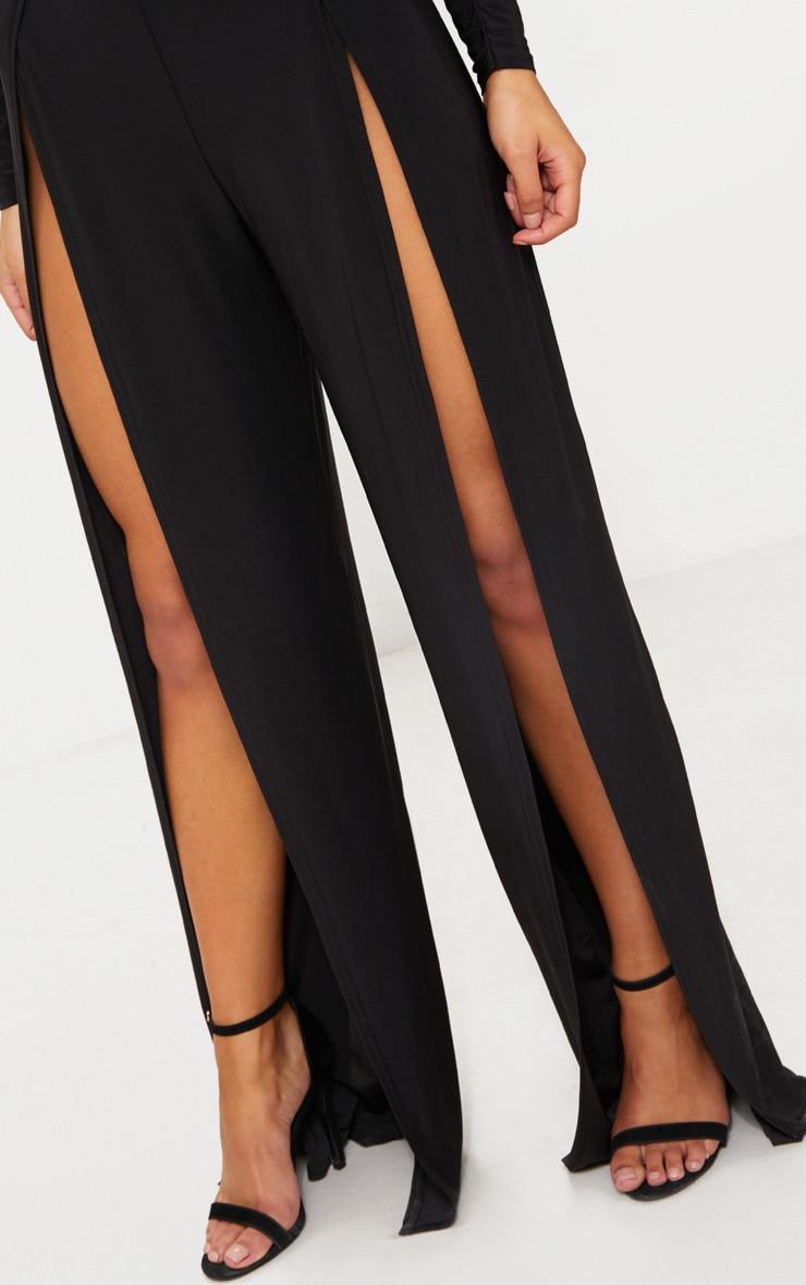 Black Slinky Ruched Front Split Leg Jumpsuit 5