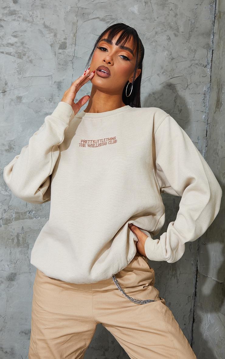 PRETTYLITTLETHING Sand The Wellness Club Embroidered Sweatshirt 1