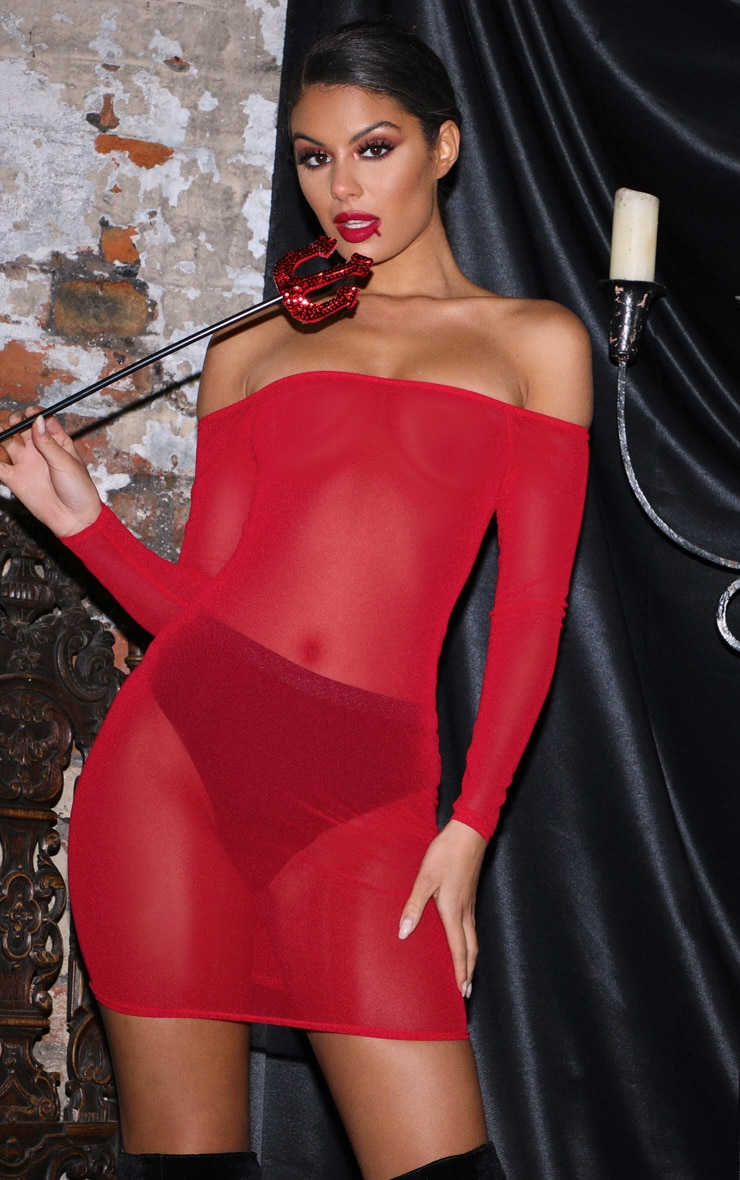 Red Bardot Mesh Bodycon Dress