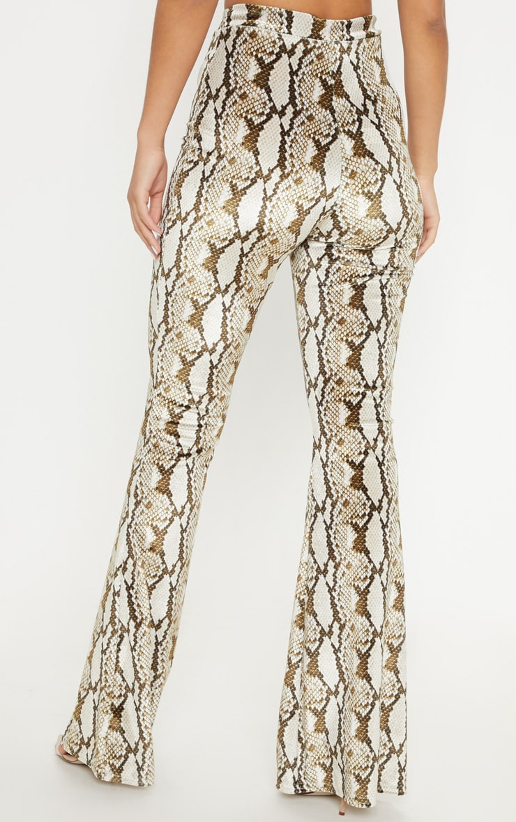 Cream Velvet Snake Flared Trouser 2