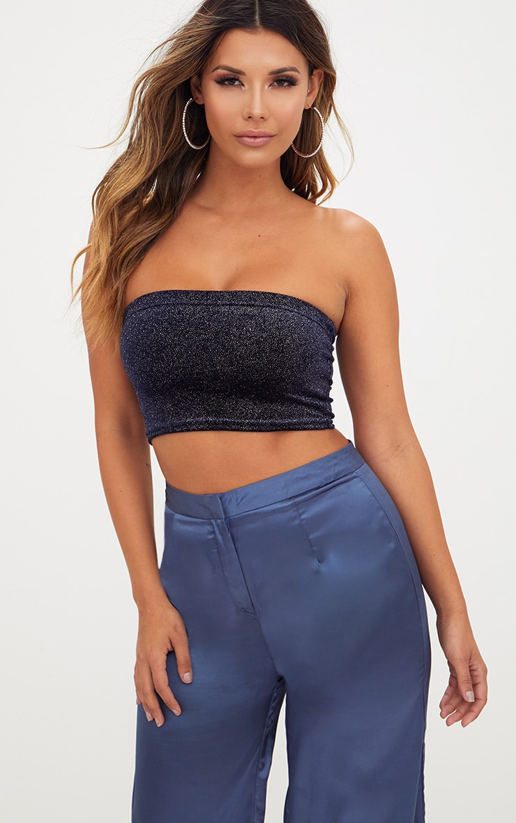 Navy Sparkle Velvet Bandeau Crop Top  1