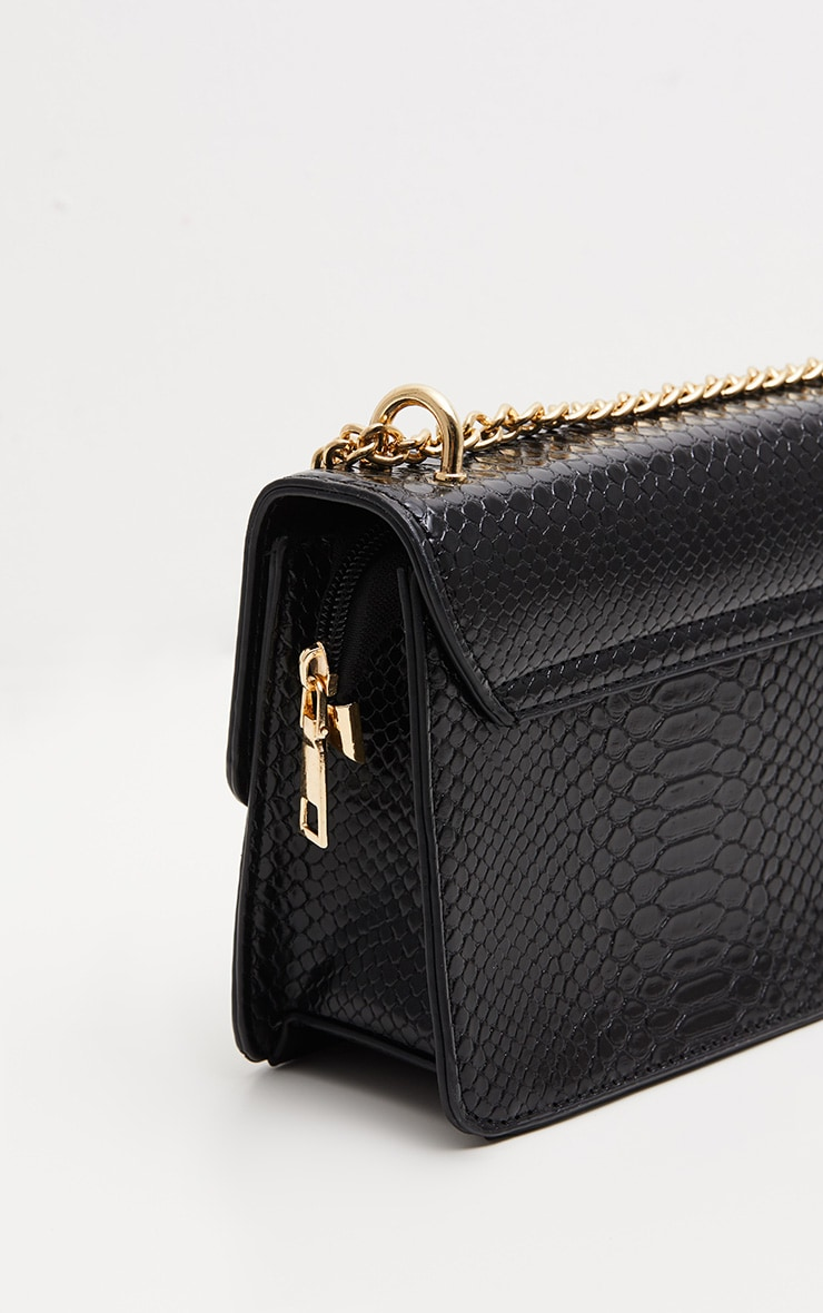 Black Croc Chain Cross Body Bag 3