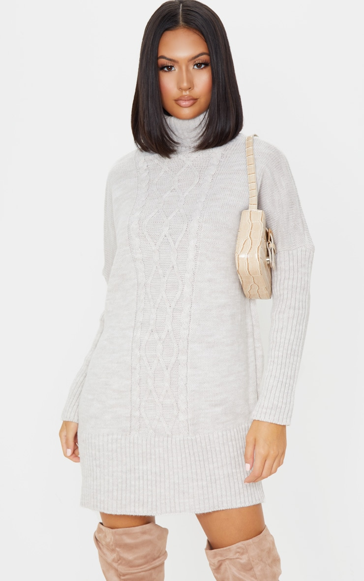 Oatmeal Cable Front Knitted Jumper Dress 1