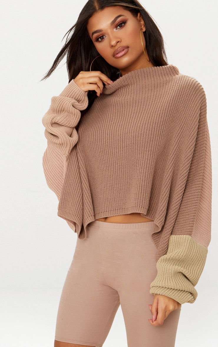 Stone Oversized Colourblock Jumper 4