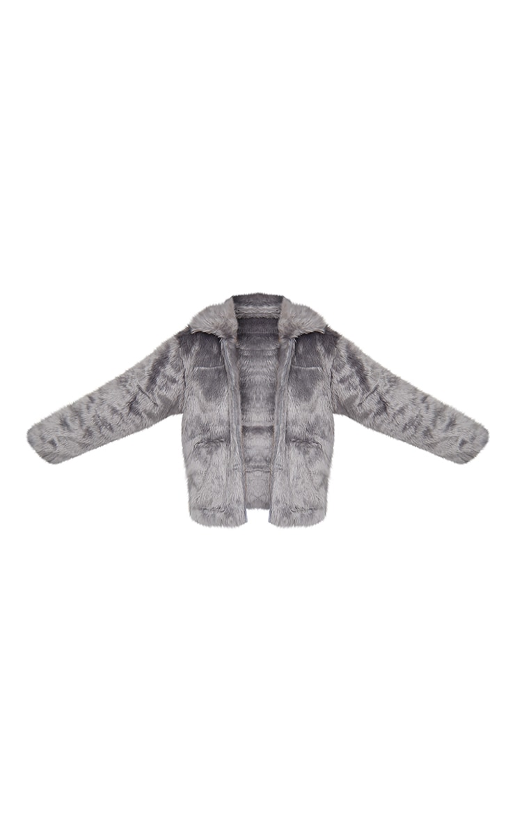 Dark Grey Long Faux Fur Pocket Front Jacket 5