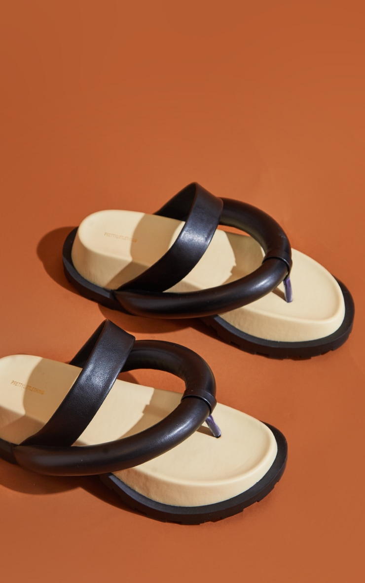 Black Chunky Toe Thong Padded Strap Sandals 4