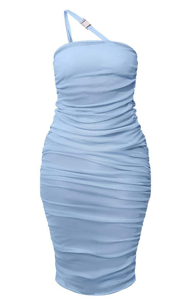 Robe mi-longue bandeau froncée en mesh bleu 5