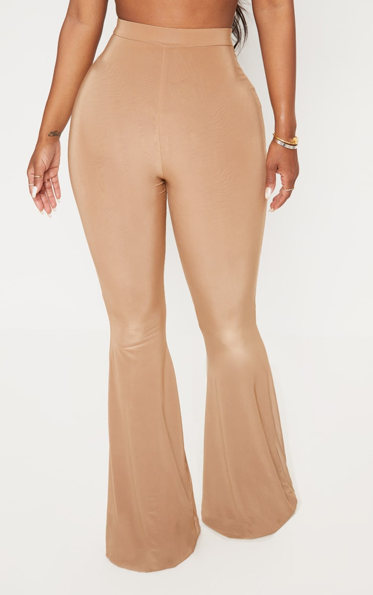 Shape Dark Camel Slinky Flared Trouser 2