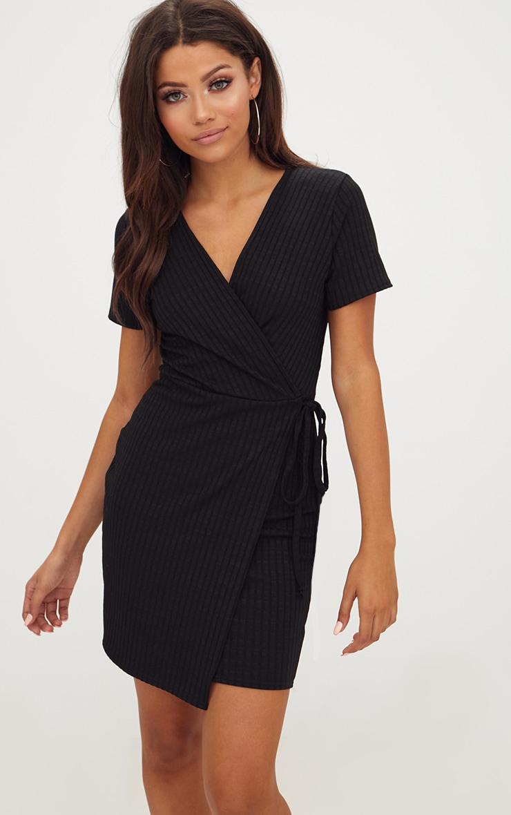 Black Ribbed Wrap Dress 1