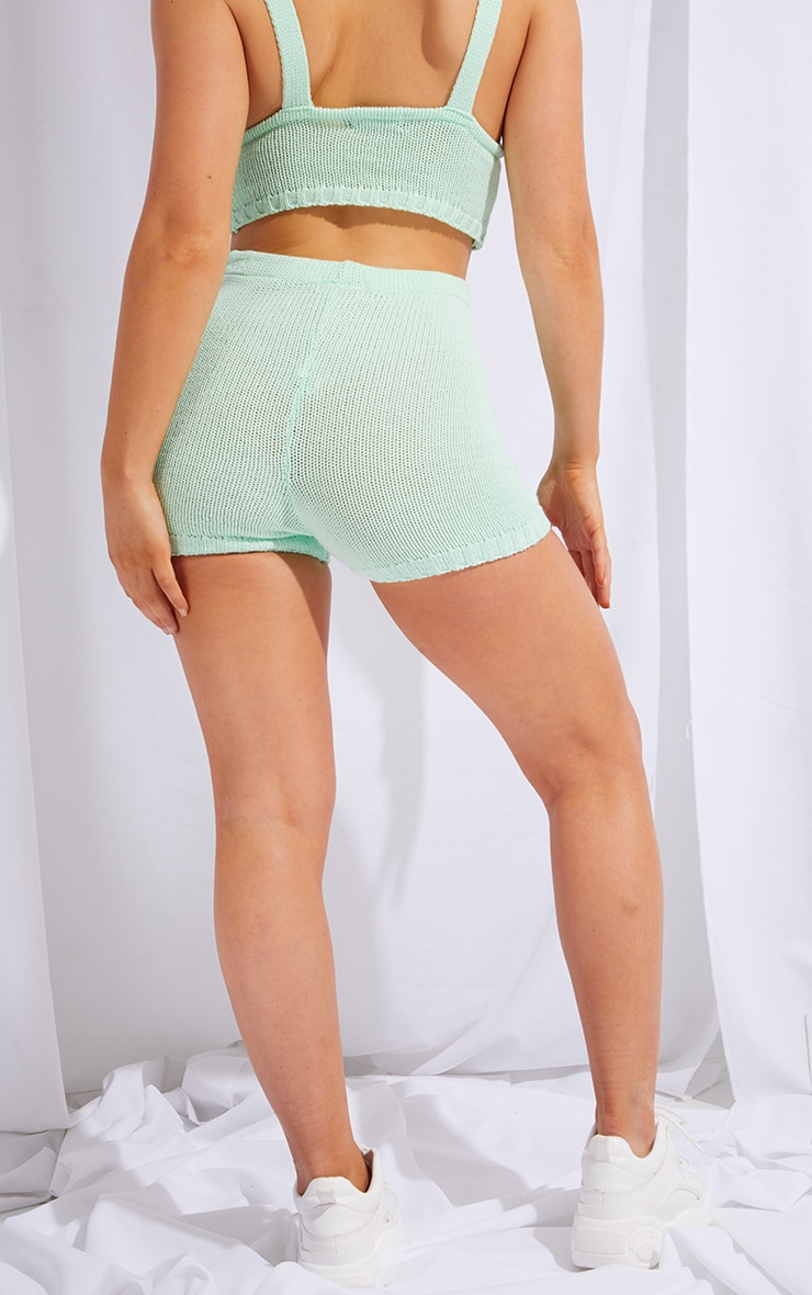 Mint Knitted High Waisted Shorts 3