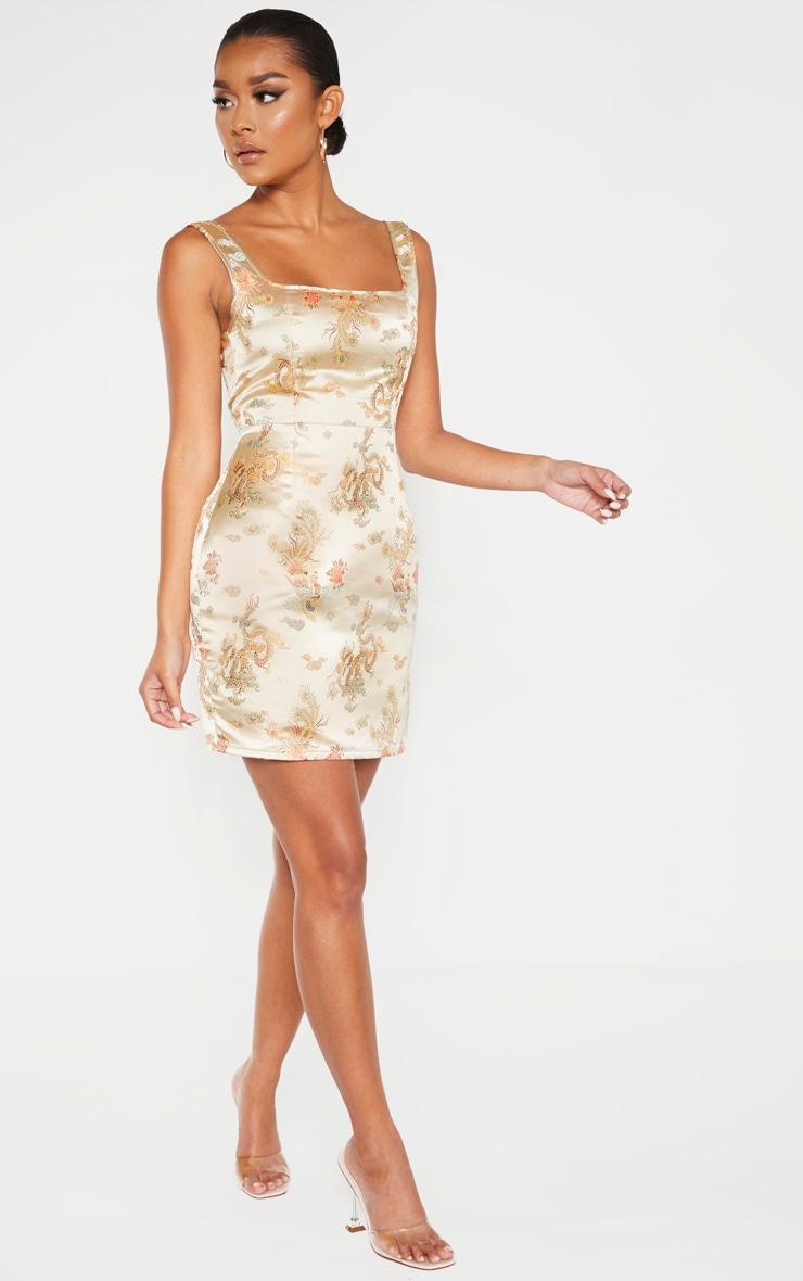 Champagne Square Neck Jacquard Bodycon Dress 4