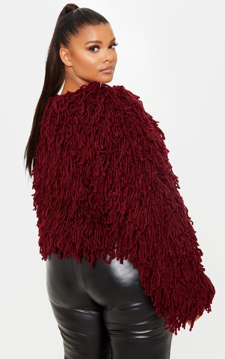 Plus Burgundy Shaggy Knit Cropped Cardigan 2
