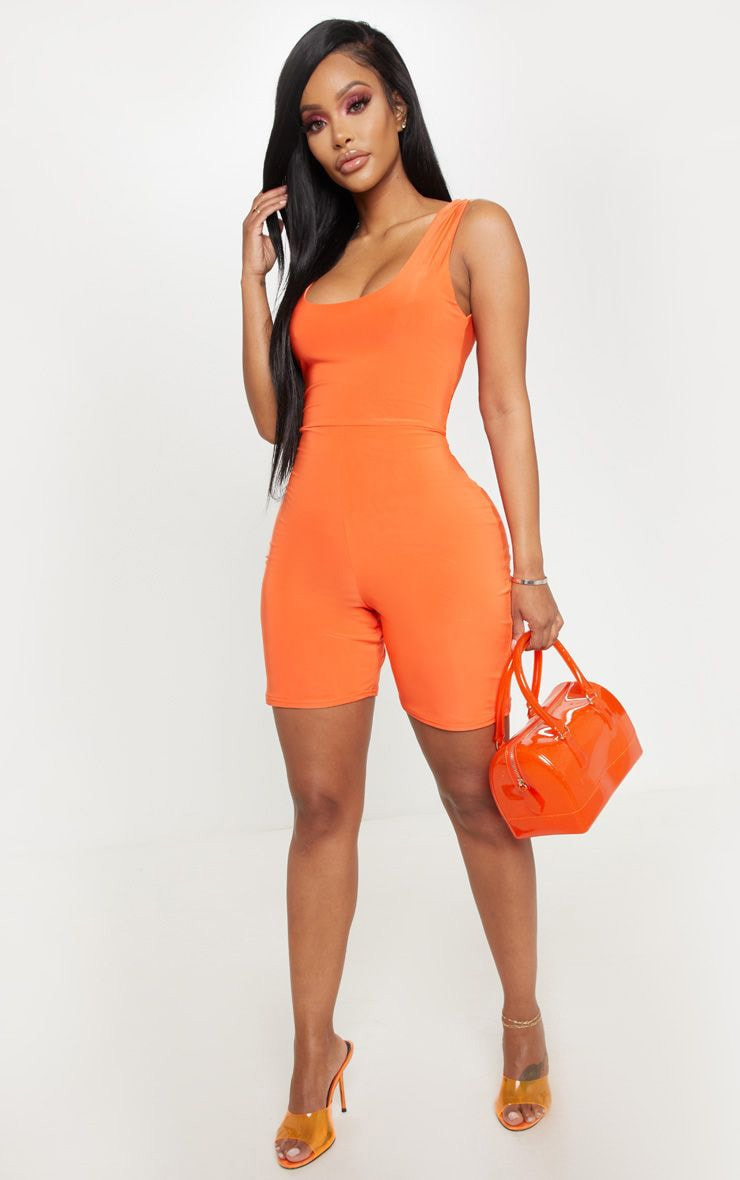 Shape Neon Orange Slinky Scoop Neck Unitard 1