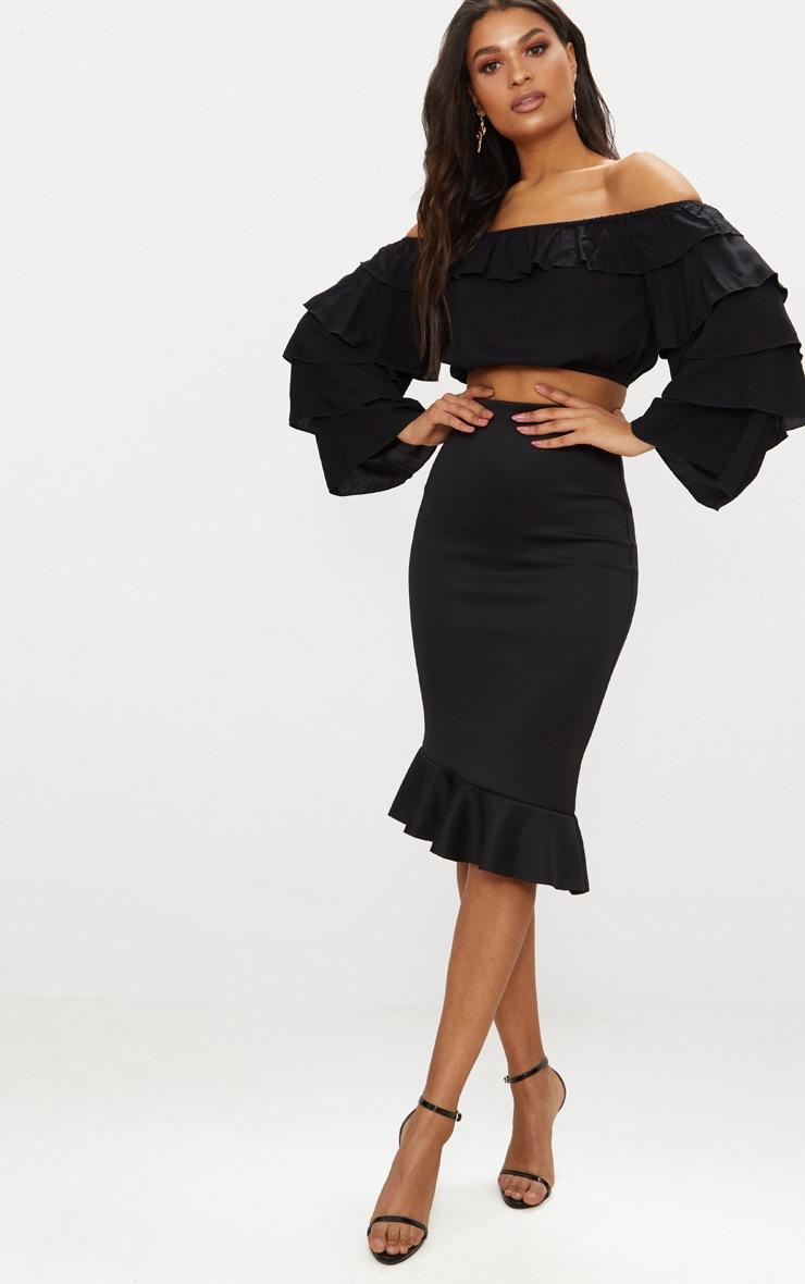 Black Scuba Asymmetrical Frill Hem Skirt 1