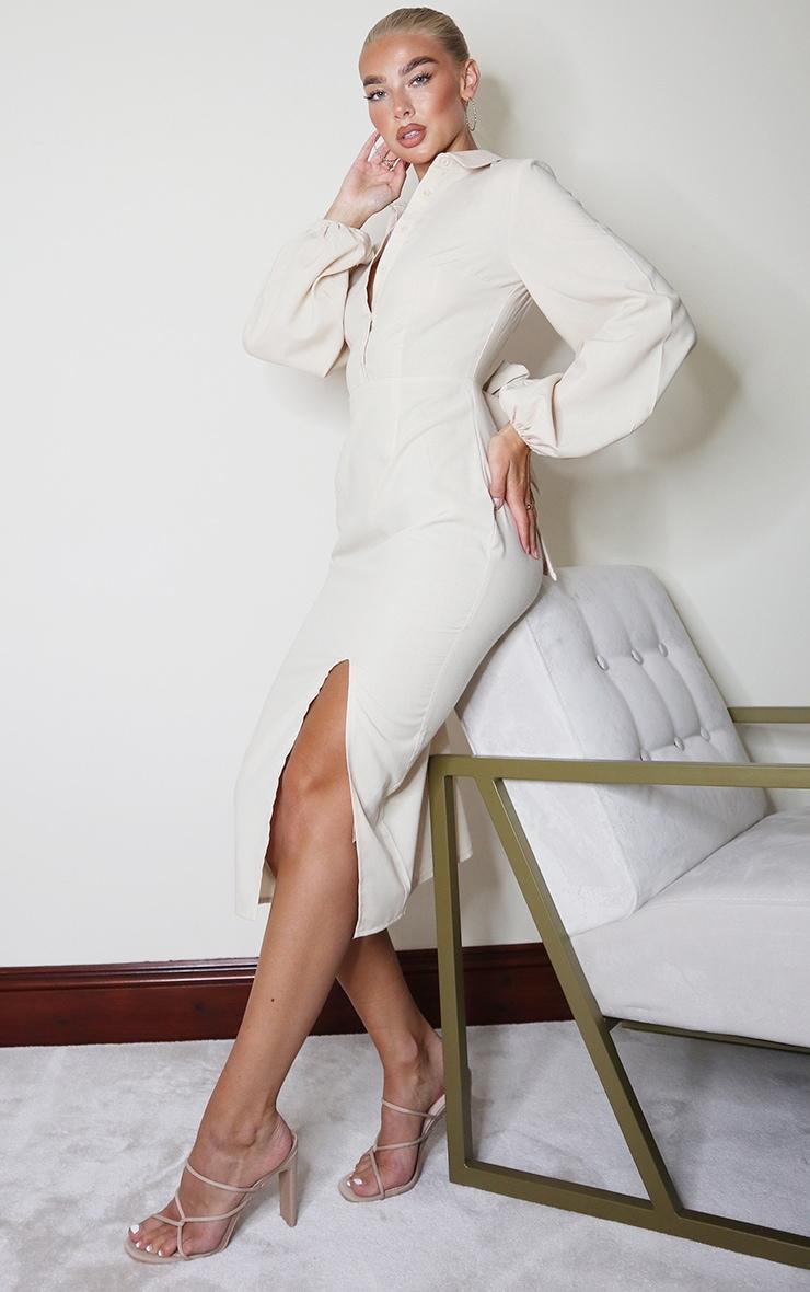Stone Linen Mix Open Back Tie Detail Midi Dress 3