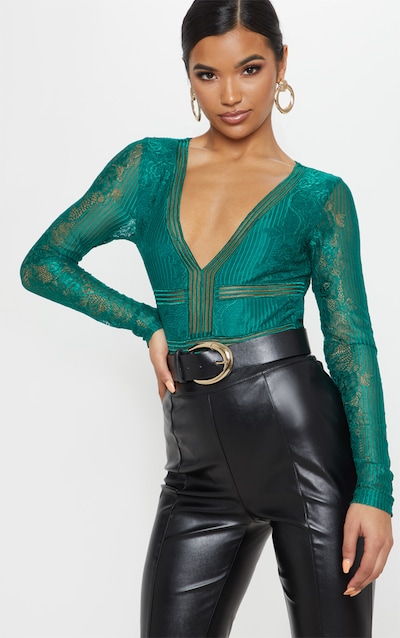 Emerald Lace Open Back Thong Bodysuit