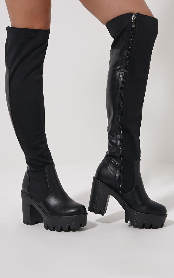 Zeana Black Chunky Cleated Sole Over Knee Boots