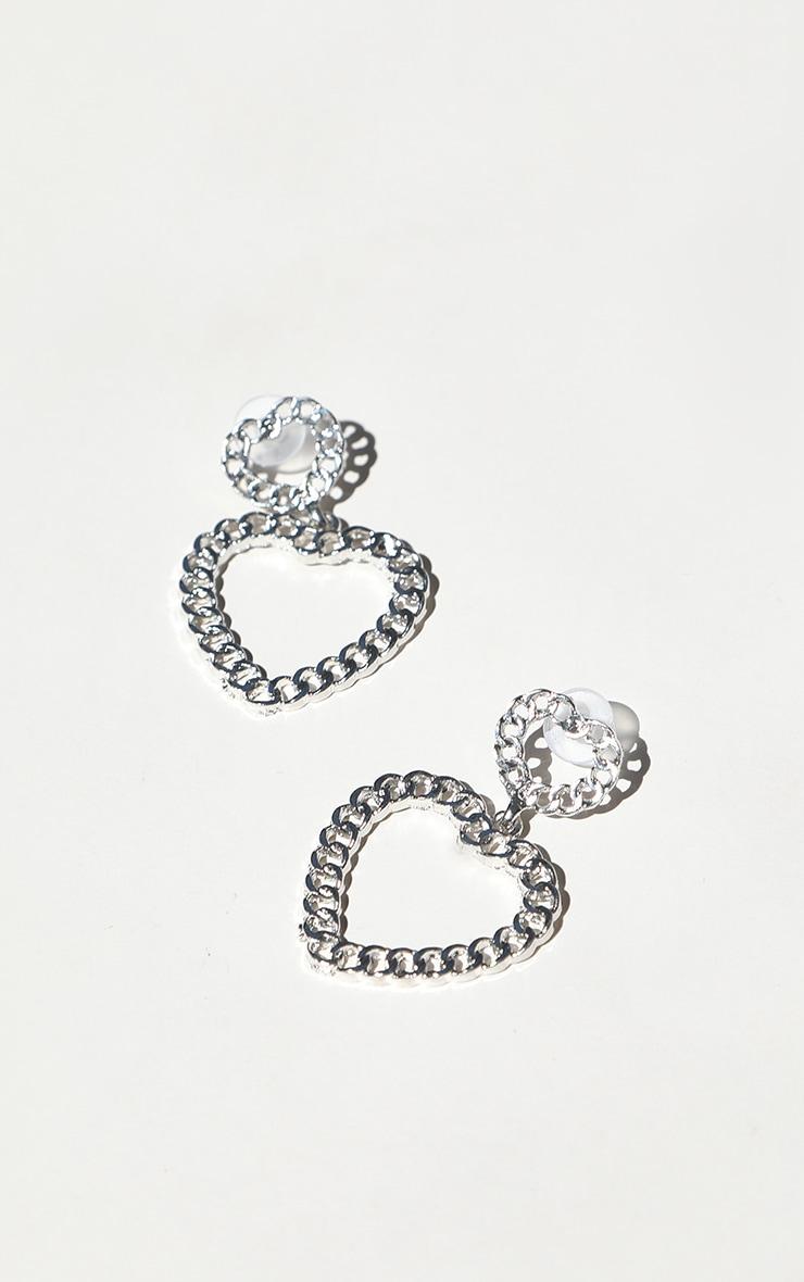 Silver Chain Heart Drop Earrings 2