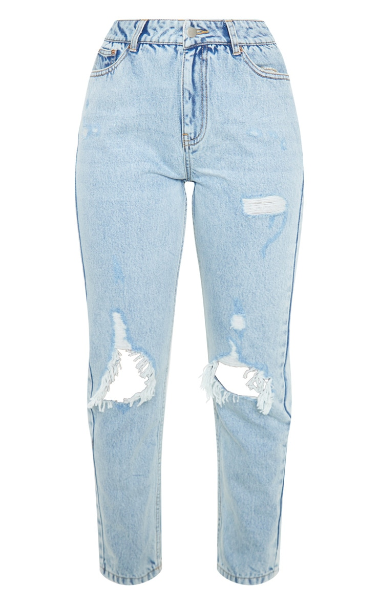 Light Wash Distressed Knee Rip Straight Leg Jeans 3