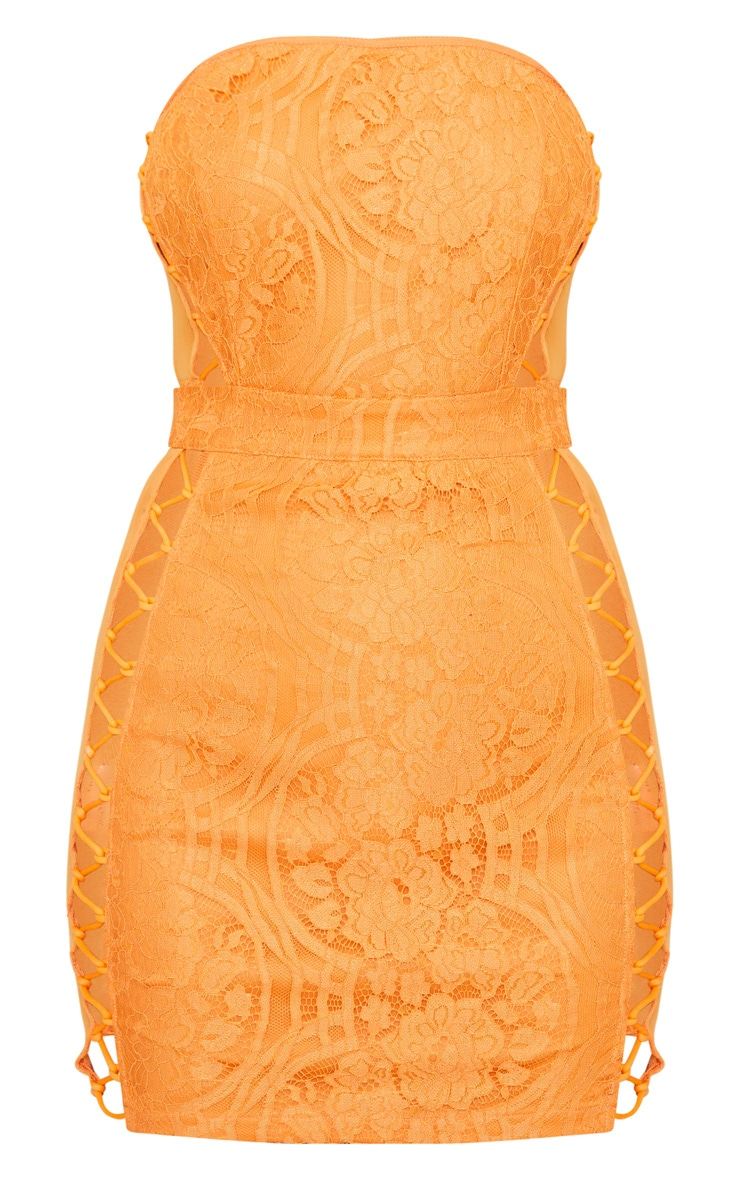 Orange Lace Bandeau Mesh Panel Lace Up Bodycon Dress  3