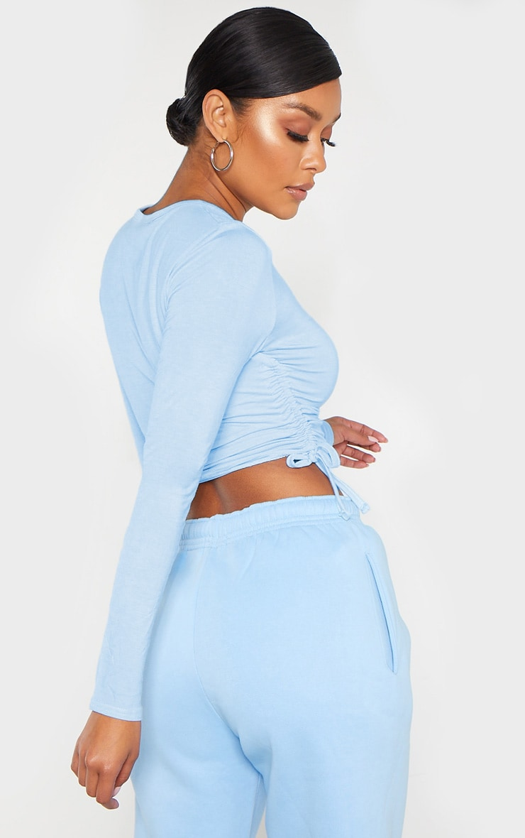 Baby Blue Jersey Ruched Side Long Sleeve Top 2