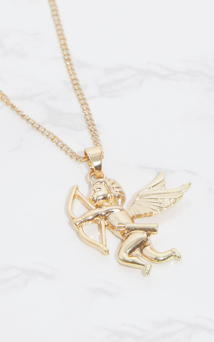 Gold Cherub Bow Arrow Pendant Necklace 3