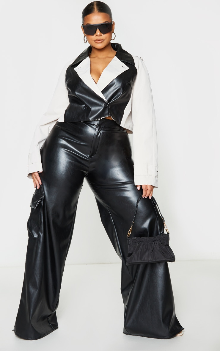 Plus Stone Contrast Panel PU Cropped Trench Jacket 4