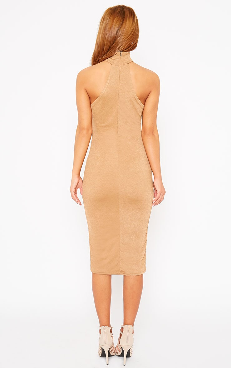 Sara Camel Polo Neck Midi Dress 2
