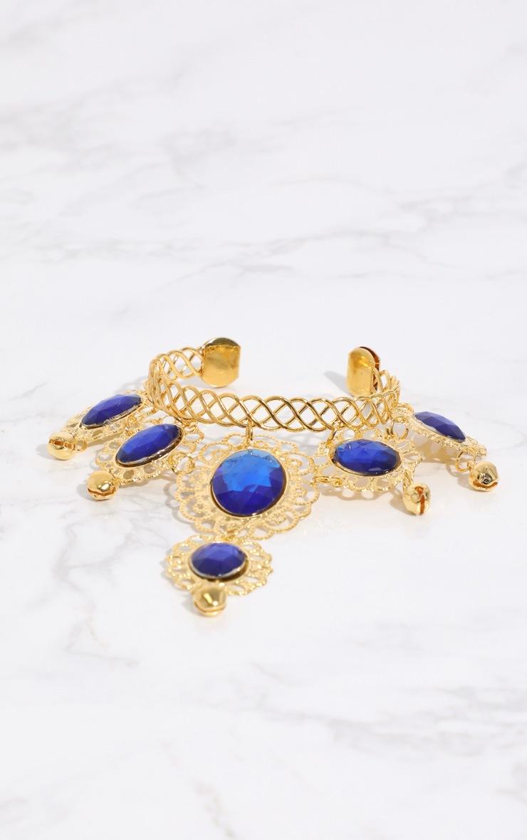 Midnight Blue Gem Gold Hand Chain 4