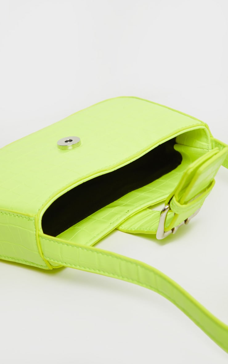 Lime Croc Buckle Front Shoulder Bag 4