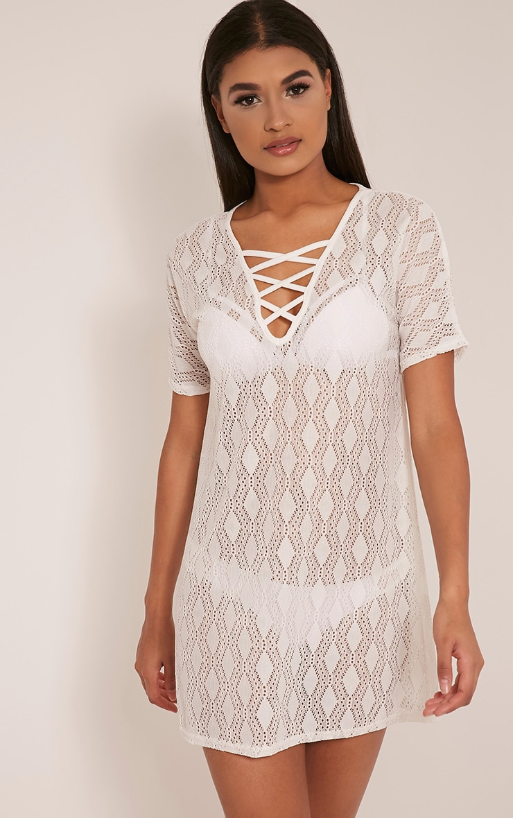Elsie White Lace Up Lace T Shirt Dress 1