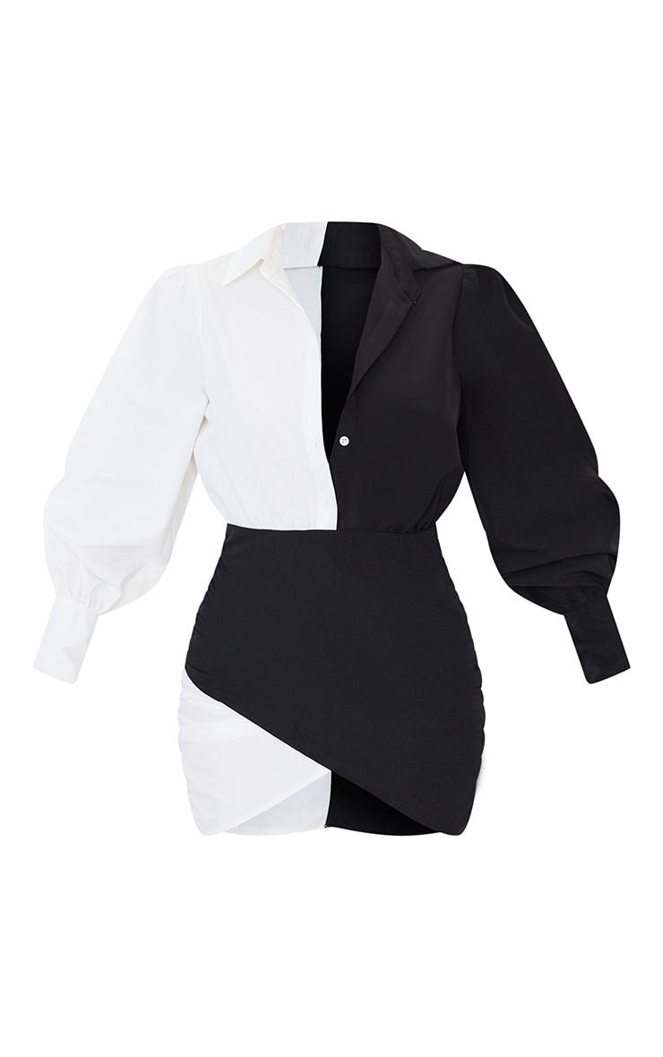 Monochrome Contrast Detail Long Sleeve Shirt Dress 5