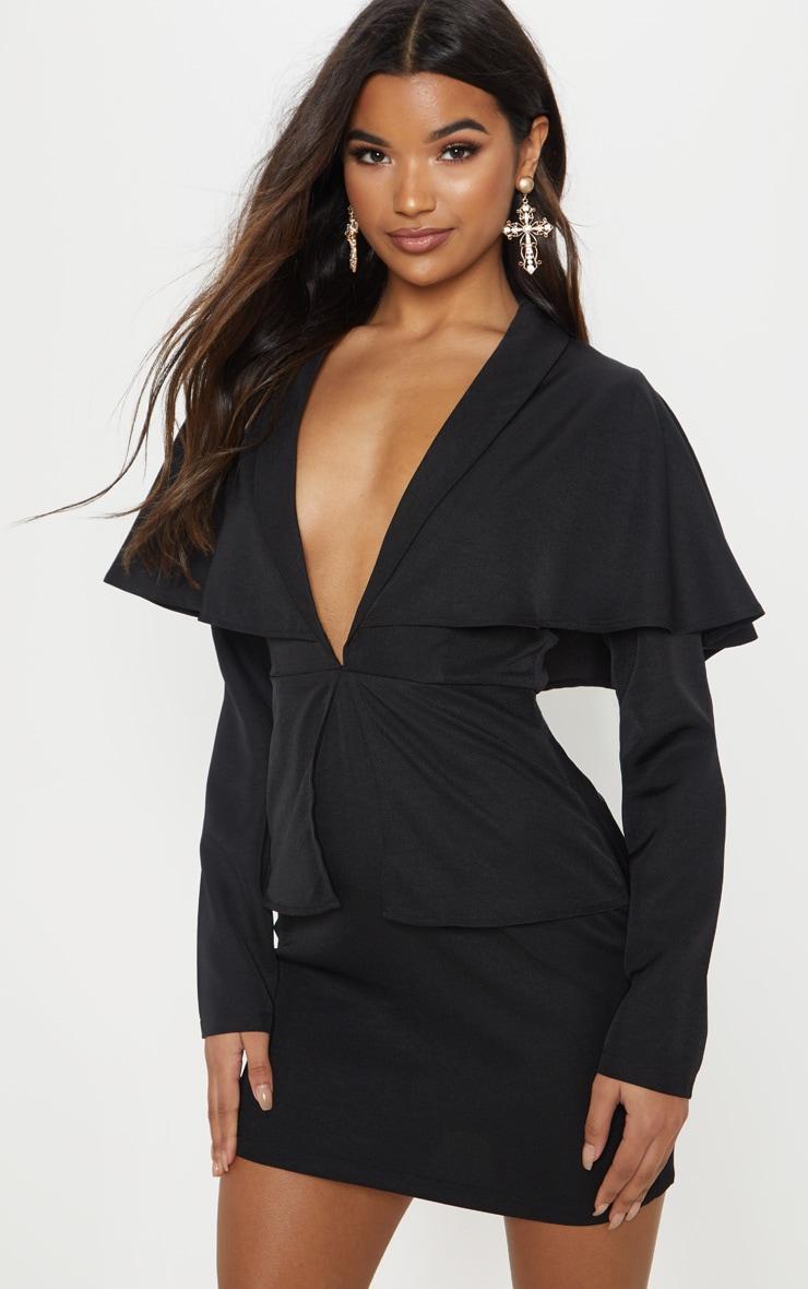 Black Cape Blazer Style Bodycon Dress 1