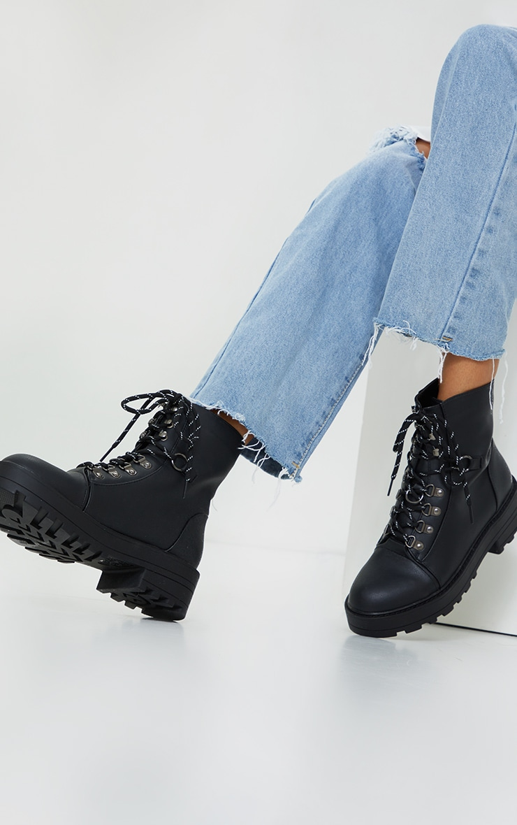 Black Soft Touch PU Chunky Hiker Laces Boots 1