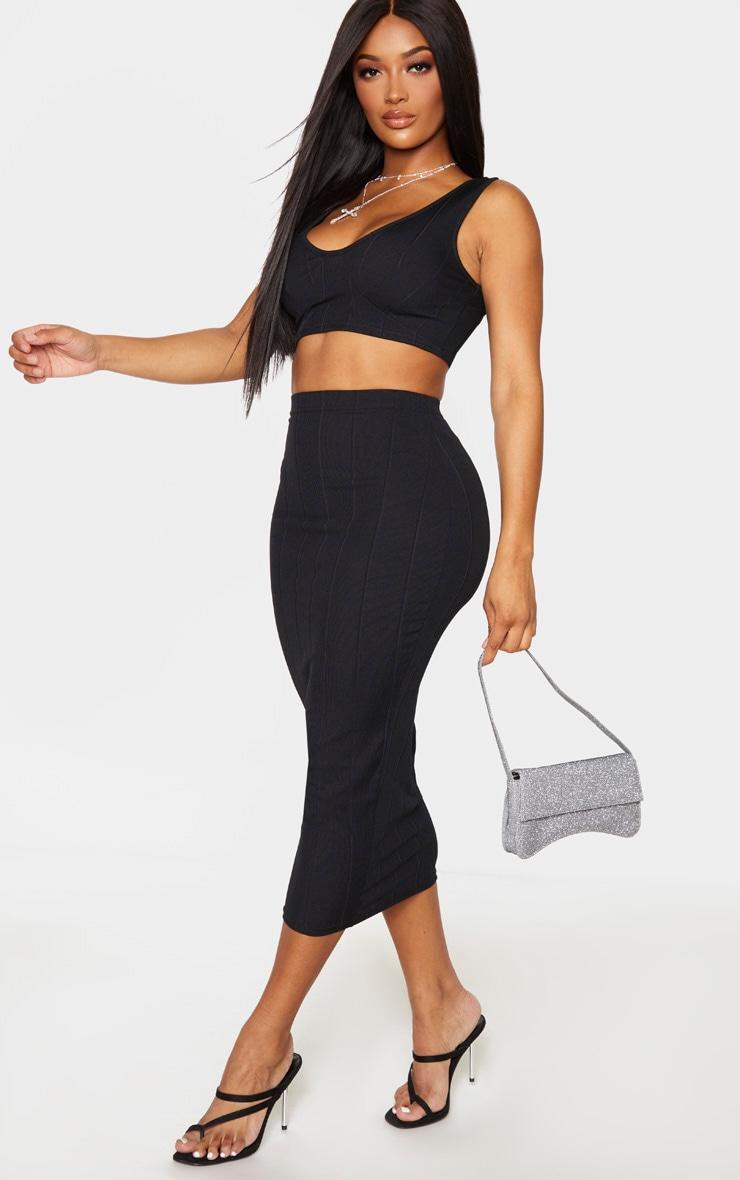 Shape Black Bandage High Waist Midi Skirt 1