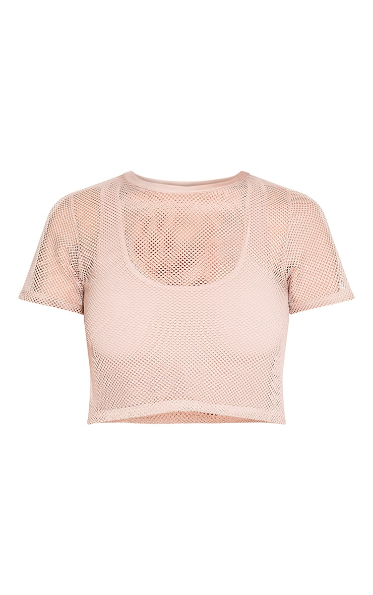 Mayce Nude Fishnet Shortsleeve Crop Top 3