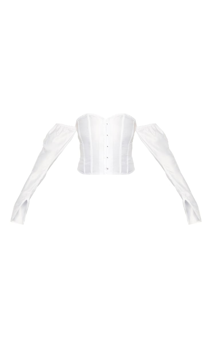 White Satin Long Sleeve Bardot Corset Top 3