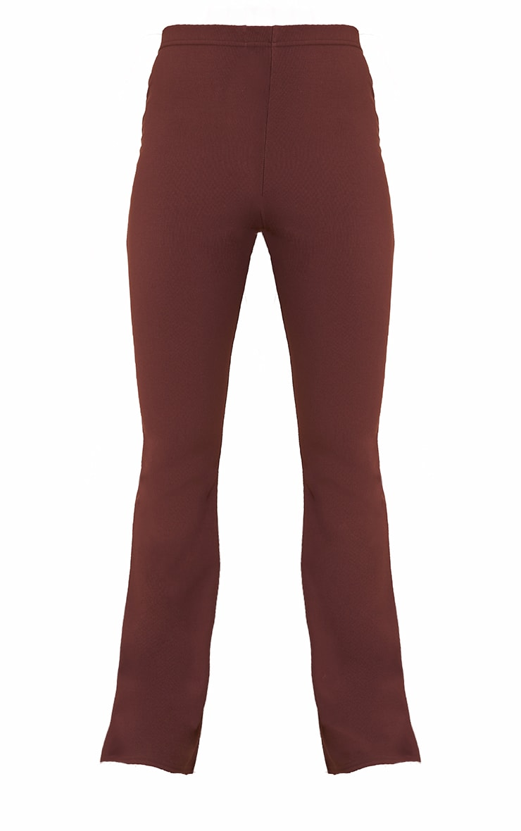 Chocolate Brown Bandage High Waist Flared Trousers 5