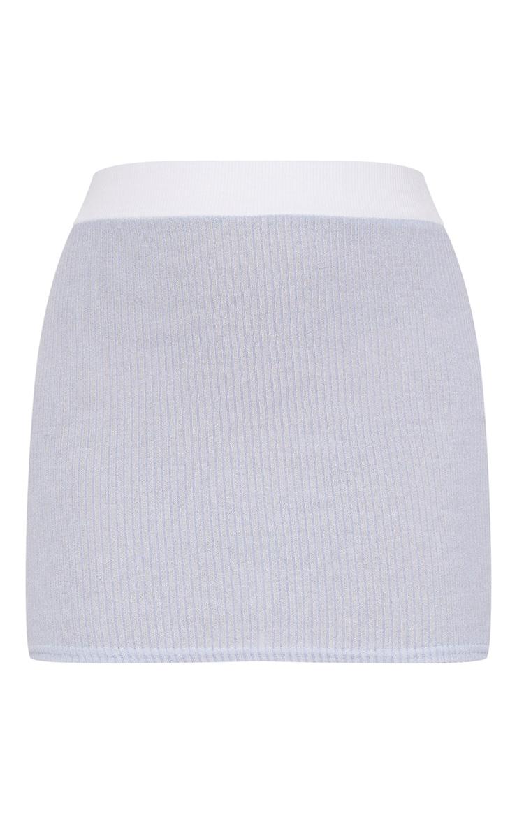 Baby Blue Contrast Rib Mini Skirt  3