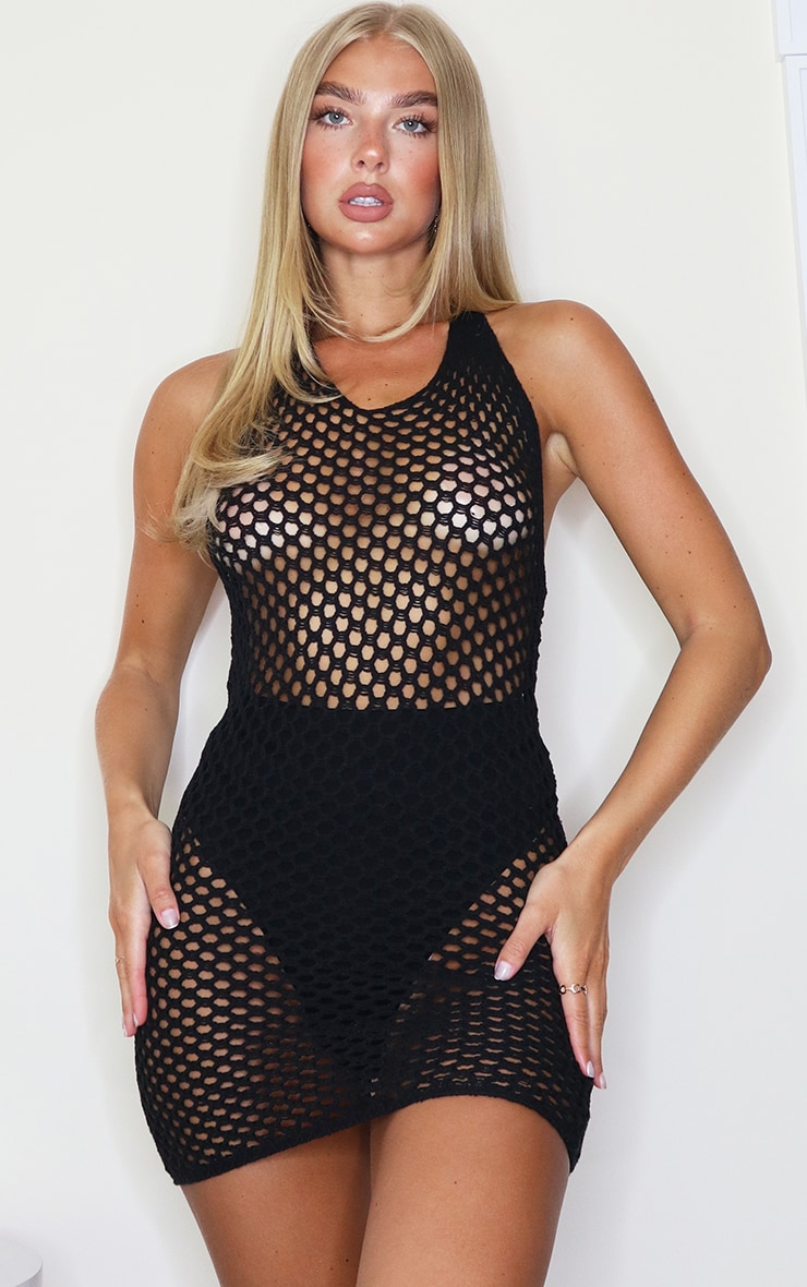 Black Tie Back Crochet Knitted Mini Dress 1