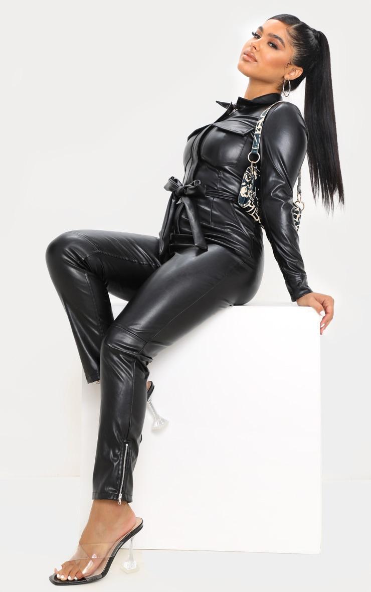 Petite Black PU Boiler Suit 4