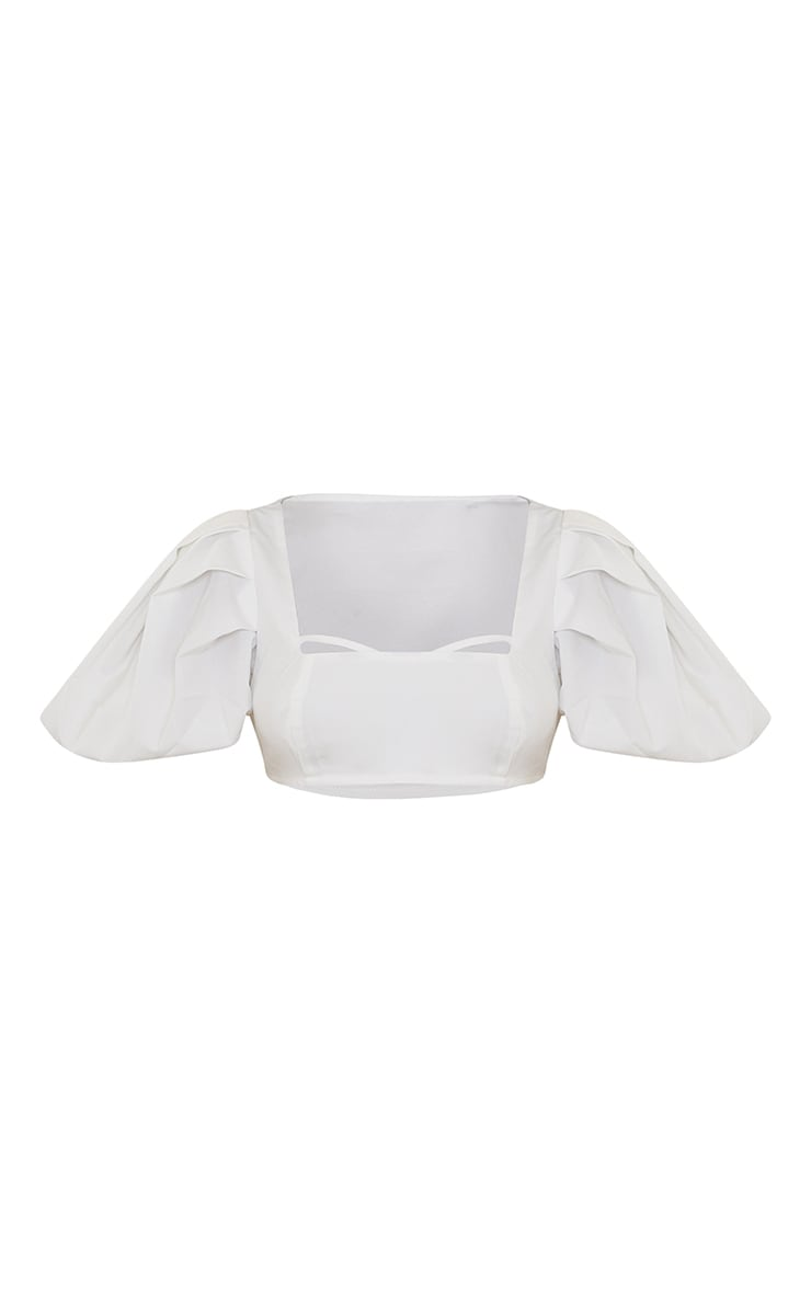 White Woven Pleat Balloon Sleeve Square Neck Crop Top 5