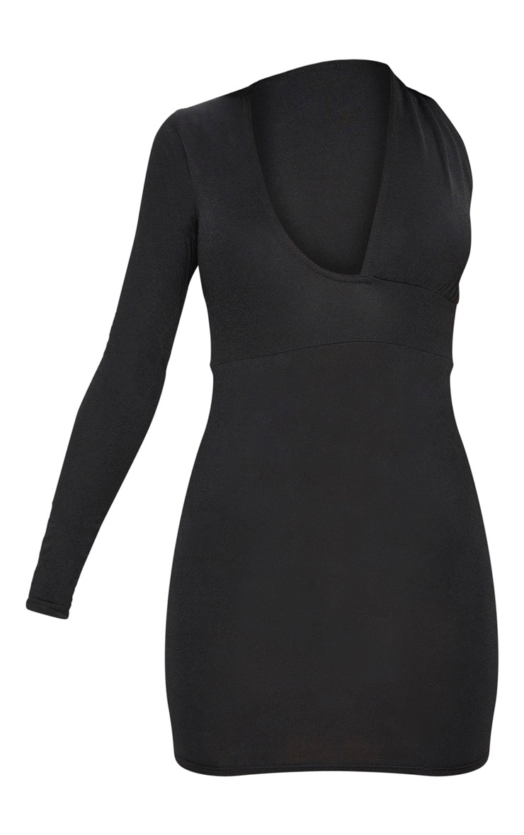 Black Asymmetric Sleeve Extreme Plunge Bodycon Dress 3