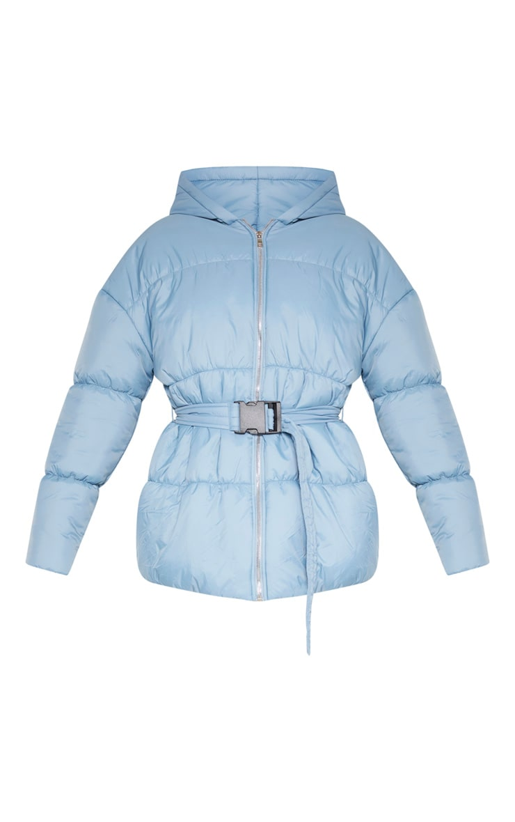 Baby Blue Hooded Midi Belted Puffer Jacket 3