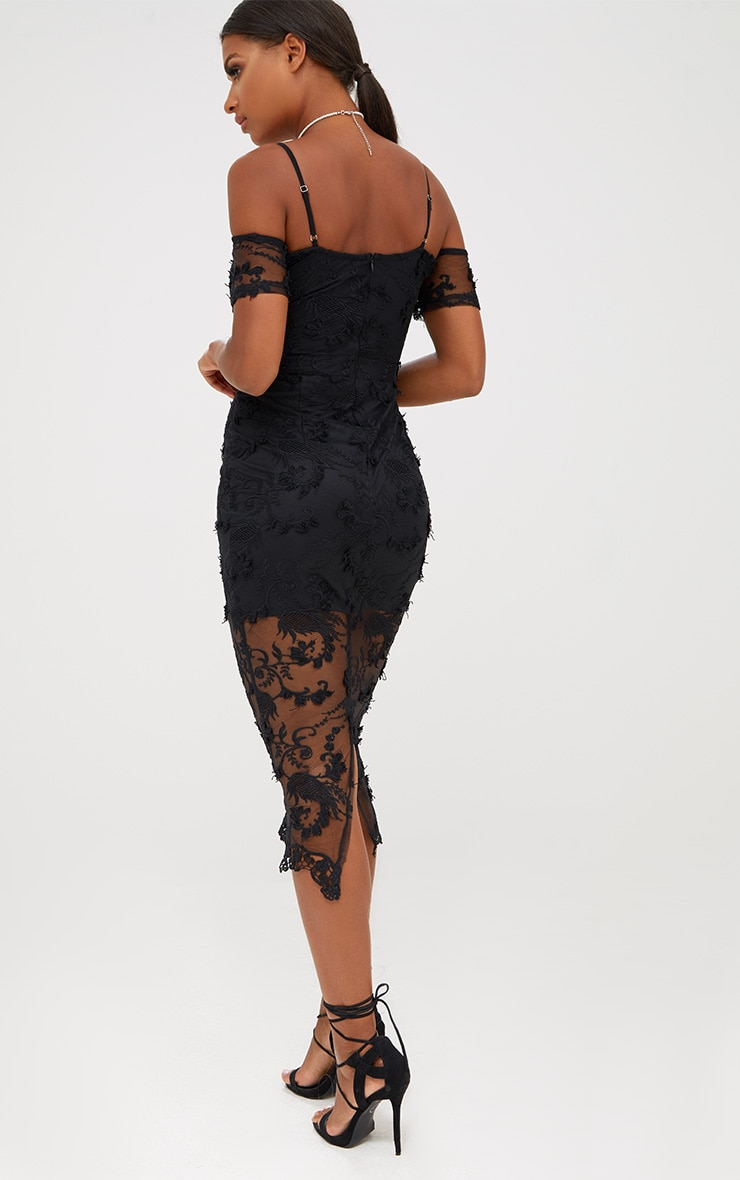 Black Embroidered Lace Cold Shoulder Midi Dress 2
