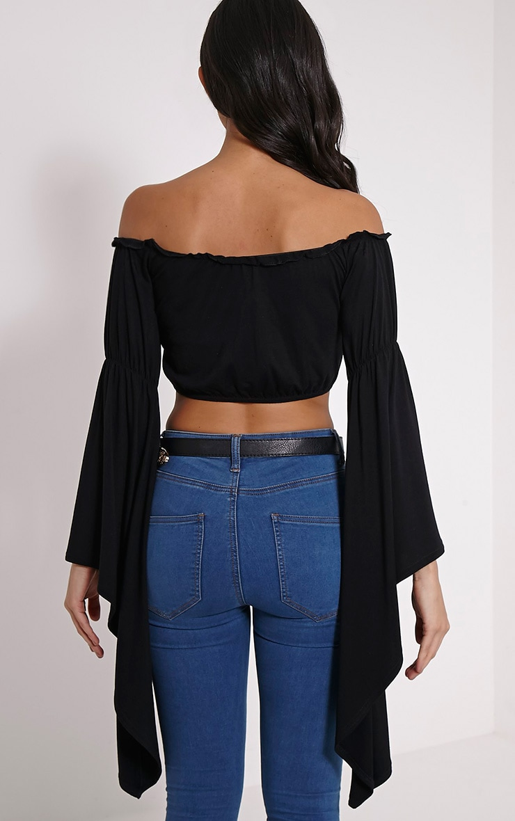 Lettie Black Extreme Flare Bardot Crop Top 2