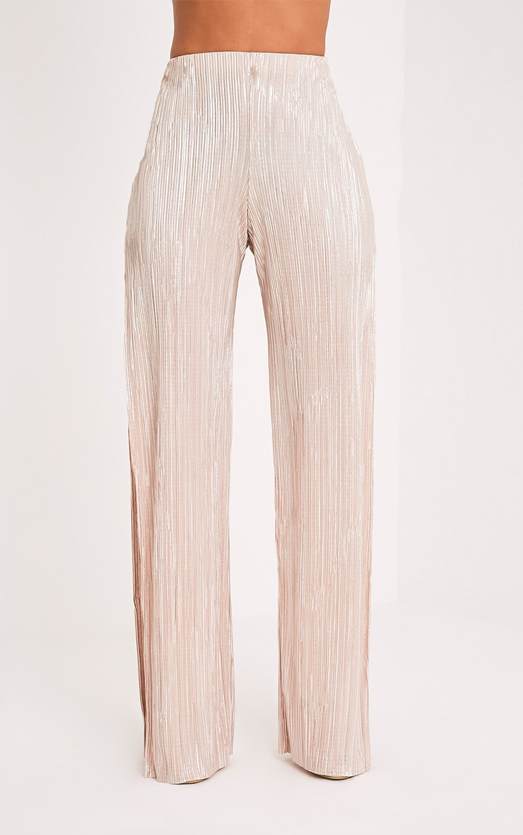 Dena Stone Metallic Pleated Side Split Trousers 2